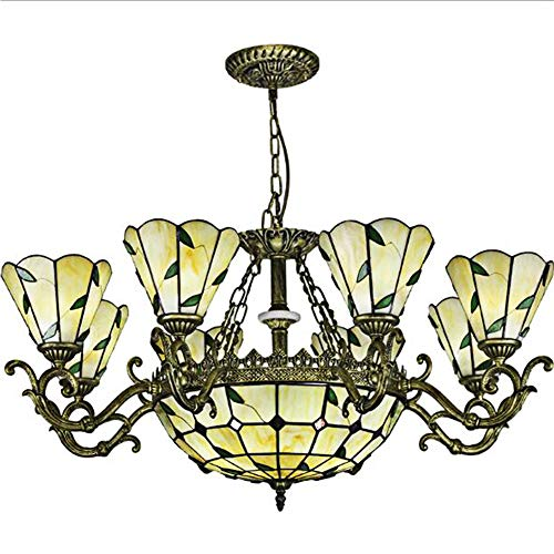 Tiffany Style Chandelier Retro Pendent Light Lamp Creative Stained Glass Ceiling Lamp Bedroom Living Room Decoration Chandelierr Mediterranean Chandelier Lighting-8