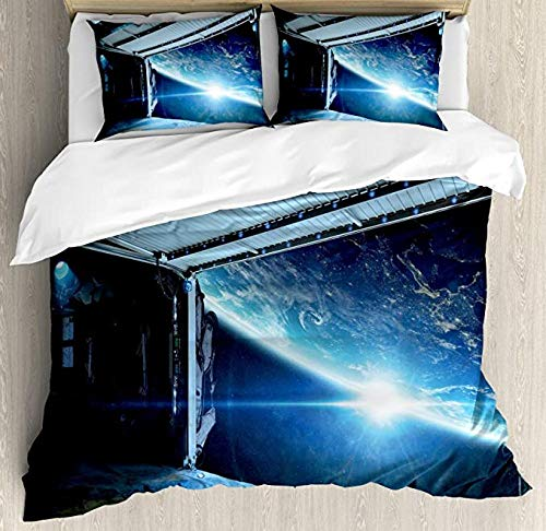 HSBZLH Kids Duvet Cover 3Pcs Outer Space Duvet Cover Set, Interstellar Airlock Shuttle Runway Gate Journey To The Stars Invasion View Bedding Set,With 2 Pillow Shams