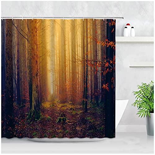 Tiiiytu Nebelwald Duschvorhänge Rot Ahorn Bäume Herbst Landschaft Wasserdichtes Gewebe Badezimmer Dekor Display Mit Haken Bad Vorhang 180X180Cm
