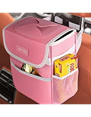 HOTOR Car Trash Can with Lid, Pink Car Trash Bag Hanging with Storage Pockets, 100% Leak-Proof Car Garbage Can with Adjustable Straps, Magnetic Snaps, Waterproof Car Garbage Bin for Interior Car Stuff Storage
