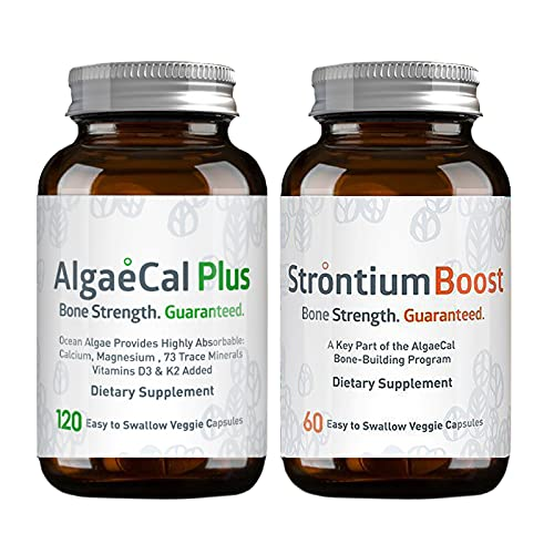 AlgaeCal Bone Builder Pack, AlgaeCal Plus & Strontium Boost, Work Together for 3X Bone Density Increase, Plant-Based Calcium, Whole Food Bone Supplement, Includes Vitamin D3 & 13 Essential Minerals
