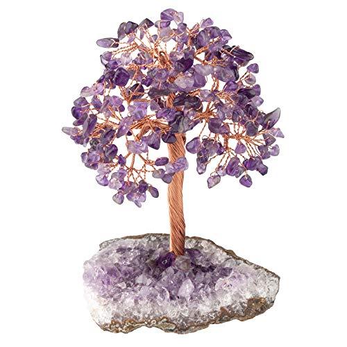 KYEYGWO Amatista Reiki curativo de cristal sobre amatista natural, segmento de druso, base en bruto, árbol de dinero, Feng Shui, bonsái, decoración, para la buena suerte, rique