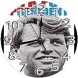 時計 壁掛け時計アナログクロックインテリア円形 静音 社長のためのロバート・ケネディRFK印刷 掛置兼用フラットフェイス 家寝室居間 直径25cm 部屋装飾