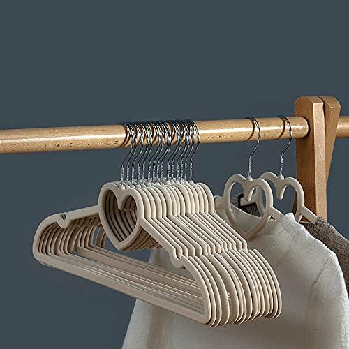 LZYMLG Grucce in velluto, 10 pezzi (42 cm), antiscivolo di alta qualità, ultra sottile, salvaspazio, resistente e durevole, grucce per abiti da adulto, per giacca pantaloni e jeans, beige