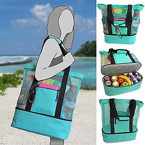 Taisei Bolsa de picnic 2 en 1 para señoras, compartimento nevera de malla con cremallera sobredimensionada con cremallera cerrada bolsa para la playa para exteriores de camping al aire libre Picnic
