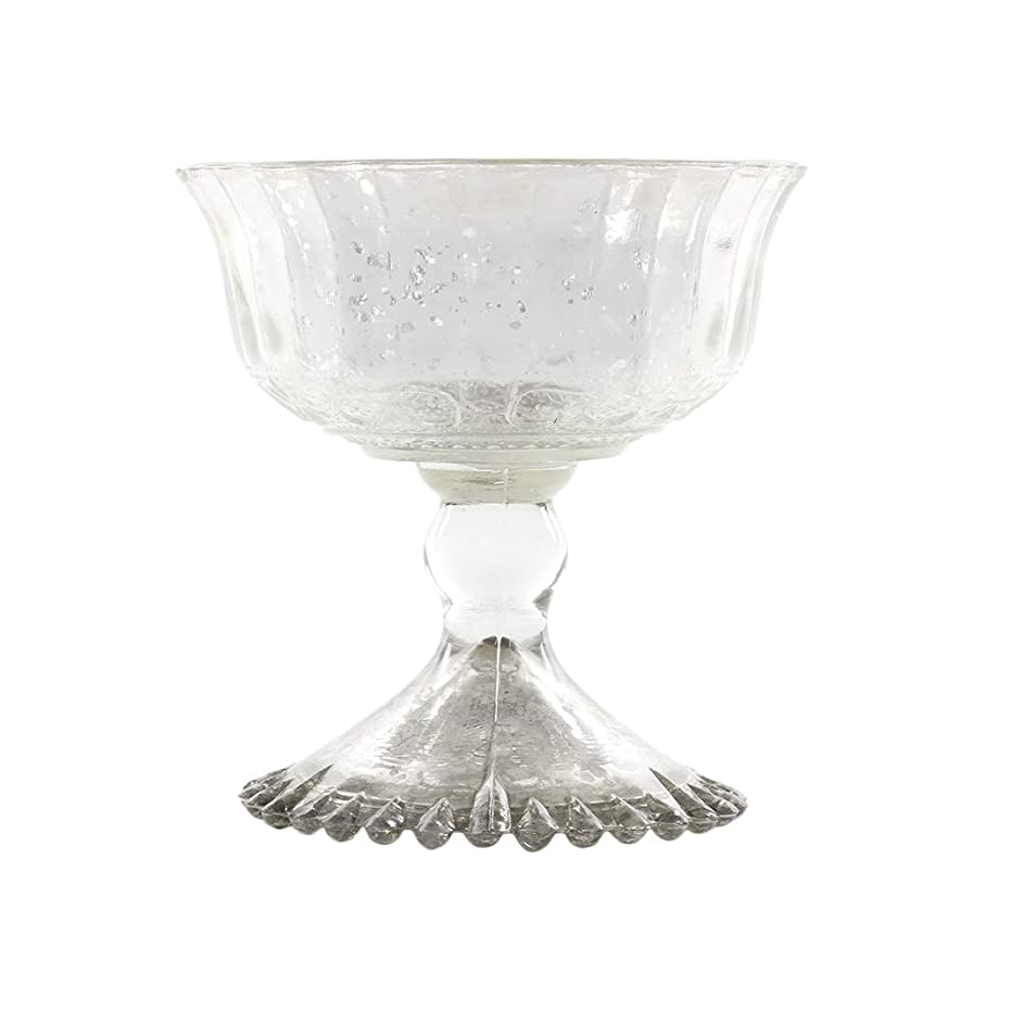 Koyal Wholesale 4.5 - Inch Antique Silver Glass Compote Bowl Pedestal Flower Bowl Centerpiece