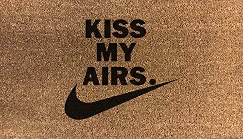 Kiss My Airs - Felpudo de nailon sintético de fibra de coco (fibra de coco, color gris, marrón, crema y verde)