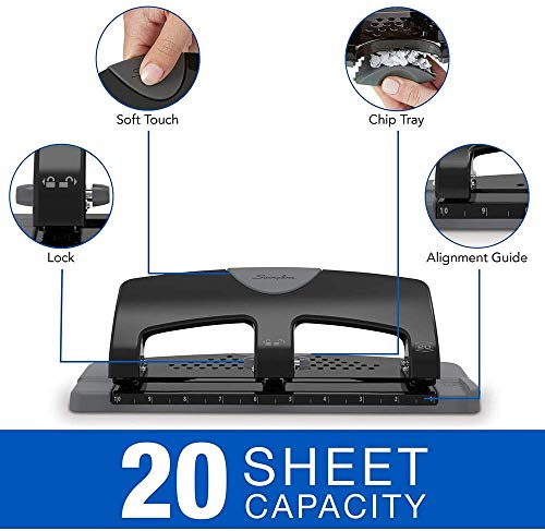 Swingline 3 Hole Punch, Hole Puncher, SmartTouch, 20 Sheet Punch Capacity, Low Force, Black/Gray (74133) - 3 Pack Photo #2