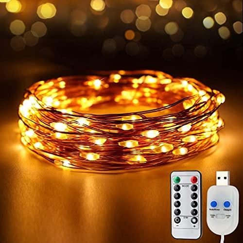 STARKER 100 luces LED de alambre de cobre con interruptor, mando a distancia y temporizador, 8 modos, regulables, resistentes al agua, para habitaciones de interior o de Navidad, fiestas de niños