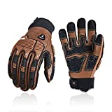 Vgo 1 Pair -20℃/-4°F COLDPROOF,Winter Work Leather Gloves,Mechanics Gloves,Impact Gloves,Anti-Vibration Gloves,Heavy Duty,Water Resistant(Size M,Brown,CA7722FLWP)