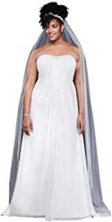 ea02574a4ea0 David's Bridal Pleated Chiffon Plus Size Wedding Dress with Beads Style  9OP1350