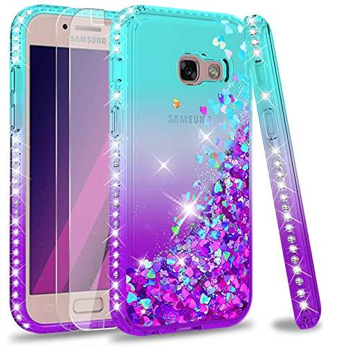 LeYi Hülle Galaxy A3 2017 Glitzer Handyhülle mit Panzerglas Schutzfolie(2 Stück),Cover Diamond Rhinestone Bumper Schutzhülle für Hülle Samsung Galaxy A3 2017 Handy Hüllen ZX Gradient Turquoise Purple
