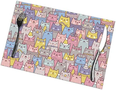 Color and Sweet Cat Placemats for Dining Table Set of 6 Washable Table Mats Kitchen Pink Place product image