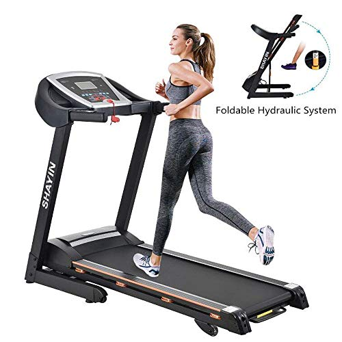 Shayin Treadmills for Home, Fold Up Treadmills for Home Electric Auto Power Incline Folding Treadmill for Running Machine Home Gym Jogging Training Adjustable Equipment 2.0HP