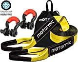 motormic Tow Strap Recovery Kit - 3' x 30ft (30,000 lbs.) Rope + 3/4' D Ring Shackles (2pcs.) + Storage Bag - Heavy Duty Straps for Winch - Truck, Car, ATV, Off Road Vehicle Towing