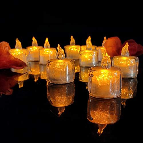 YZCX 24 Piezas Velas de LED sin Llama Vela Electrónica Lámpara de mesa Luz de Té Velas LED que Parpadean Amarillas con Pilas para hogar festivales decoración, bodas y fiestas