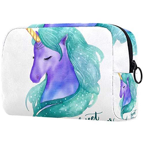 Neceser de Maquillaje Estuche Escolar para Cosméticos Bolsa de Aseo Grande Bonito Unicornio de Acuarela con Dulces sueños