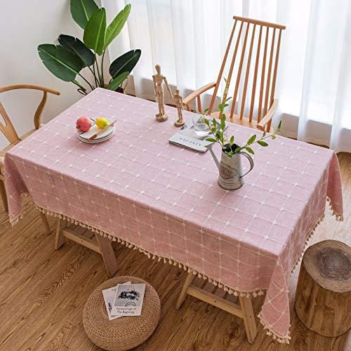 DJUX Borlas de algodón y Lino Mantel Bordado Rectangular a Cuadros Mantel de Color sólido Mesa de Comedor Mantel de té Mantel 110x110cm