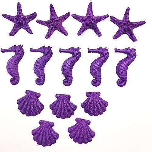 15pcs Resin Finger Starfish Seashells Resin seahorsesfor Wedding Home Decor and Craft Project (Purple)