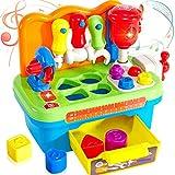 Buyger 2 en 1 Centro de Actividades Juguetes para Bebés Juego de Herramientas Infantiles Juguete de Educacion con Luz Musical