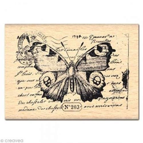 Florilèges Diseño FE 112018 - Sello para Scrapbooking, fantasía Mariposas, 5 x 7 x 2,5 cm, Color: Amarillento