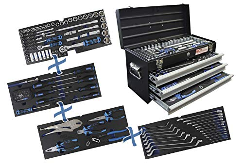 BGS 3318 | Metall-Werkzeugkoffer | mit 143 Werkzeugen | 3 Schubladen | mit Werkzeug gefüllt - 4