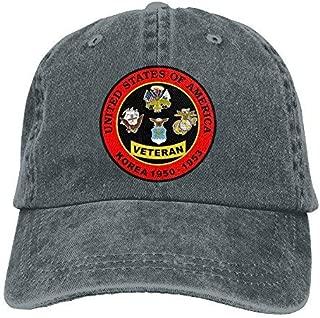 United States Army Marine Air Force Navy Korea War Veteran Dad Hat Adjustable Denim Hat Classic Baseball Cap