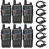 BAOFENG UV-S9 Rechargeable Two Way Radio Dual Band VHF UHF Walkie Talkie for Business Commercial Work School Church Restaurant with USB Battery Charger Cable Black (6 Pack)