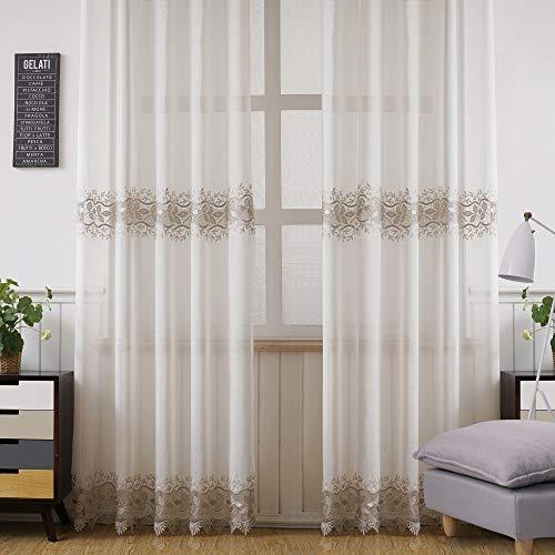 Viste tu hogar Pack 2 Cortina Decorativa con Diseño Bordado Semi Translucida, Estilo Simple y Elegante, para Salón, Habitación y Dormitorio, 2 Piezas, 150X260 CM, Color Blanco y Gris Claro
