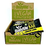 BodyMe Barritas Proteinas Veganas Organica | Cruda Curcuma Limon | 12 x 60g Barra Proteina Vegana | Sin Gluten | 16g Proteína Completa | 3 Proteina Vegetal | Aminoacidos Esenciales | Vegan Protein Bar