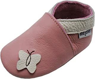 Mejale Chaussons Enfant Bébé en Cuir Doux-Chaussons Cuir Souple-Chaussures Premiers Pas-Dessin animé Étoiles