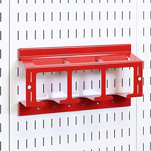 Wall Control Drill Holder Power Tool Storage Rack - Compact Impact Drill Battery Power Tool Pegboard Organizer for Wall Control Pegboard (Red)