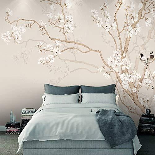 Behang, fotobehang, aangepaste muurschildering behang, moderne Chinese stijl, handbeschilderd stijl magnolia bloesem vogel foto wallpaper voor woonkamer tv-achtergrond slaapkamer muur decoratie 480cm(W)×290cm(H)