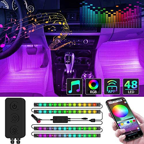 Kundorf LED Innenbeleuchtung Auto, 12V 4pcs RGB 48 LED Auto LED Strip, Zwei-Linien-Design, mehrfarbig Innenbeleuchtung mit Zigarettenanzünder, APP Steuern