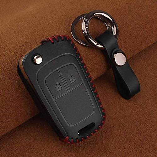 Intelligente Autoschlüssel Abdeckung Mit Fernbedienung,Leather Car Key Case Cover 2 Buttons, for Buick for Chevrolet Cruze for Opel Vauxhall Insignia Mokka Buick Model 2