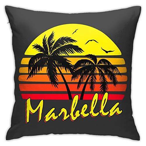 HONGYANW Marbella - Funda de almohada vintage para sol, impresión de doble cara, funda de almohada con cremallera oculta, hermoso patrón impreso de 45,7 x 45,7 cm