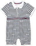Tommy Hilfiger Baby Girl Stripe Shortall S/s Polaina, Azul (Black Iris/Bright...