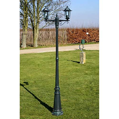GOTOTOP Farola Clásico de Jardín 215cm, Lámpara de Pie de Exterior Base E27, Farola de Jardín de Aluminio 60W, Verde Oscuro