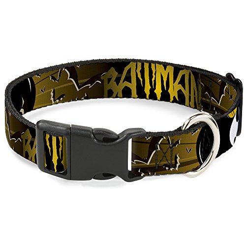 Buckle-Down Batman mit Fledermaus Signale & Flying Fledermäuse gelb/schwarz/weiß Kunststoff Clip Halsband