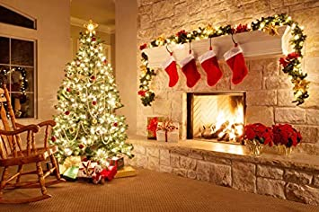 Amazon Com Leyiyi 10x8ft Photography Background Merry Christmas Backdrop Happy New Year Rustic Xmas Tree Pine Fireplace Socks Vintage Stone Wall Red Balls Cold Winter Wreath Gift Photo Portrait Vinyl Studio Prop