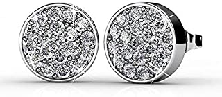 Cate & Chloe Nelly 18k White Gold Pave Stone Stud Earrings with Swarovski Crystal Cluster, Round Cut Swarovski Stones, Stud Earring Set, Trendy Jewelry for Women, Girls