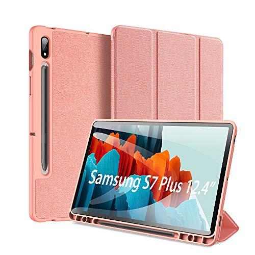 DUX DUCIS Hülle für Samsung Galaxy Tab S7 Plus 12.4inch 2020, ltra Slim Cover Schutzhülle TPU Ultra Leightweight Flip Hülle mit S Pen Halter, für Samsung Galaxy Tab S7 Plus T970/T975/T976, Rosa