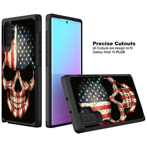 TurtleArmor Schutzhülle für Samsung Galaxy Note 10 Plus 6,8 Zoll/Note 10 + Schutzhülle N975, schlankes Design, Doppellagiges TPU, US Flag Skull