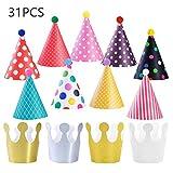 KATOOM 31TLG Partyhüte Set Partyhütchen Geburtstag Krone 22 Papier Krone 9 Kegel Hüte Party...