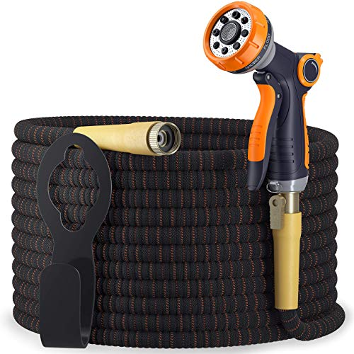 TBI Pro Expandable Garden Hose Kit 50-100 ft - Superior Strength 3750D - 4-Layers Latex, Extra-Strong Brass Connector- 10-Way Durable Zinc Water Spray Nozzle 2 Way Pocket Flexible Splitter (50FT Set)
