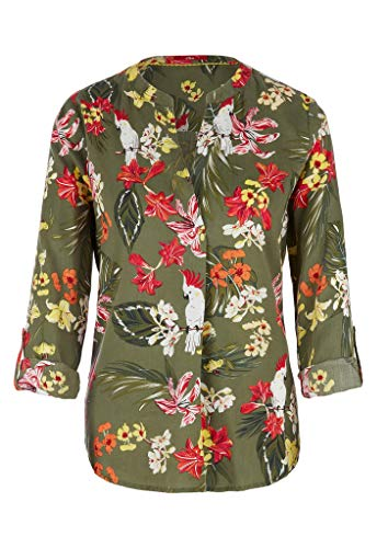s.Oliver Damen Bluse mit Turn up-Ärmeln khaki AOP flowers 46