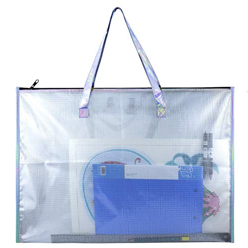BUSOHA Large Clear Mesh Vinyl Bag with Handle and Zipper/Waterproof Art Storage Bag for Artworks, Charts and Teaching Material Multipurpose -19 x 25 Inch