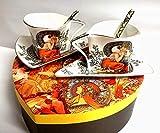 Van Well Alfons Mucha Ruby - Juego de tazas de té (6 unidades, porcelana, con caja de regalo), color rojo