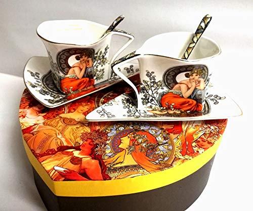 Van Well Alfons Mucha Ruby - Juego de tazas de té (6...