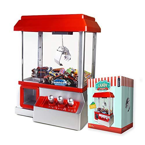 mikamax – Candy Grabber - mit Stummschaltungstaste - Süßigkeiten Automat für Zuhause - Greifmaschine - Mini Jahrmarkt Spielautomat – Rot – Greifer Spielautomat
